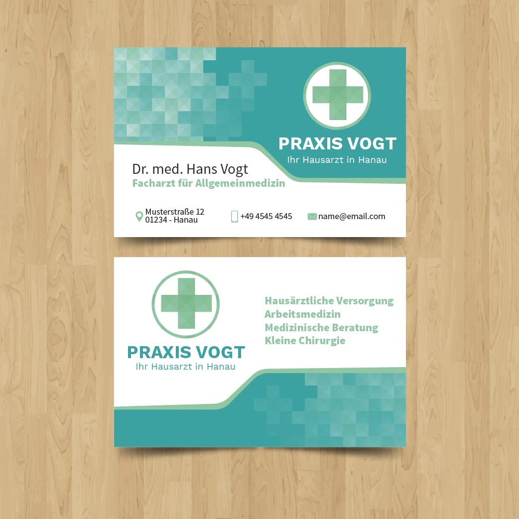 Beispiel 1 - Visitenkarten für Ärzte - Visitenkarte für Praxis Vogt