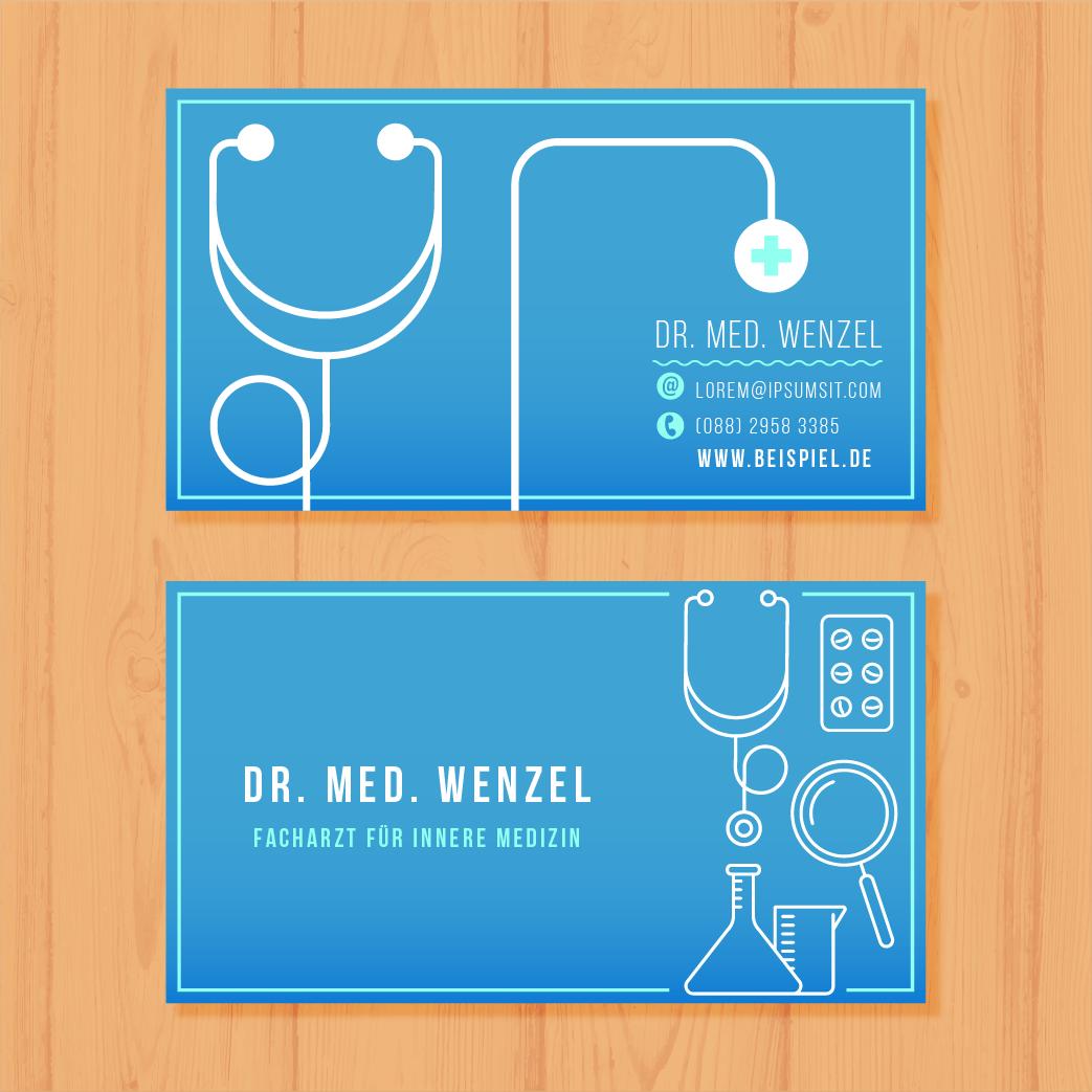 Beispiel 2 - Visitenkarten für Ärzte - Visitenkarte von Dr. med. Wenzel