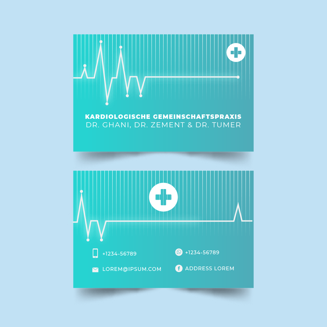 Beispiel 3 - Visitenkarten für Ärzte - Visitenkarten für die kardiologische Gemeinschaftspraxis
